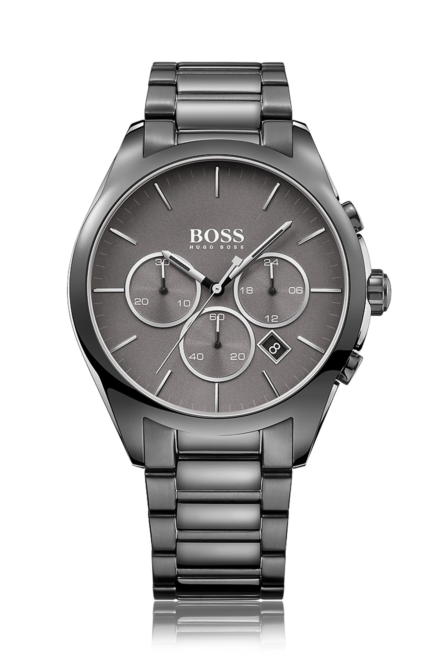 Grey-plated stainless-steel chronograph watch with grey dial