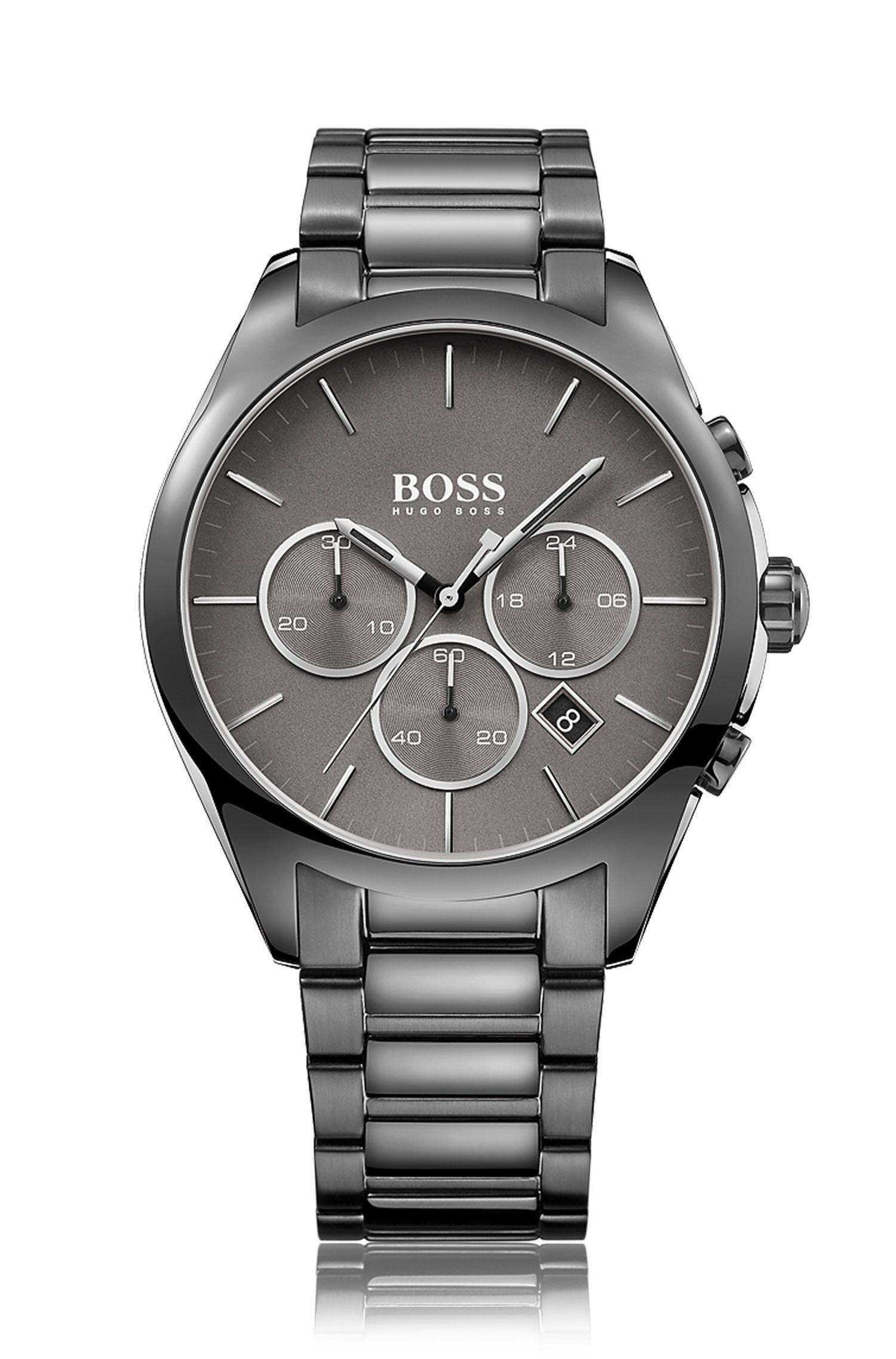Montre chronographe en acier inoxydable plaqué gris, à cadran gris