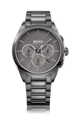 Grey-plated stainless-steel chronograph watch with grey dial, Grey