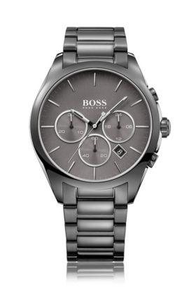 Montre chronographe en acier inoxydable plaqué gris, à cadran gris, Gris