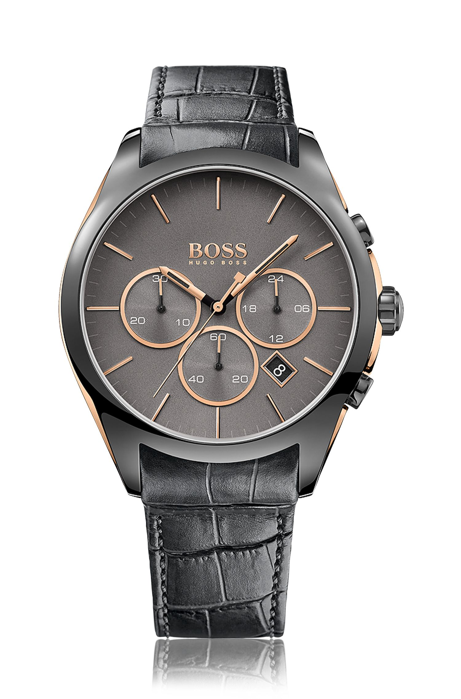 Blackened stainless-steel chronograph watch with black dial and leather strap