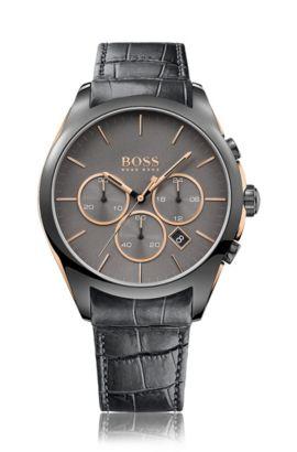 Cronografo in acciaio inossidabile placcato nero con quadrante nero e cinturino in pelle, Grigio