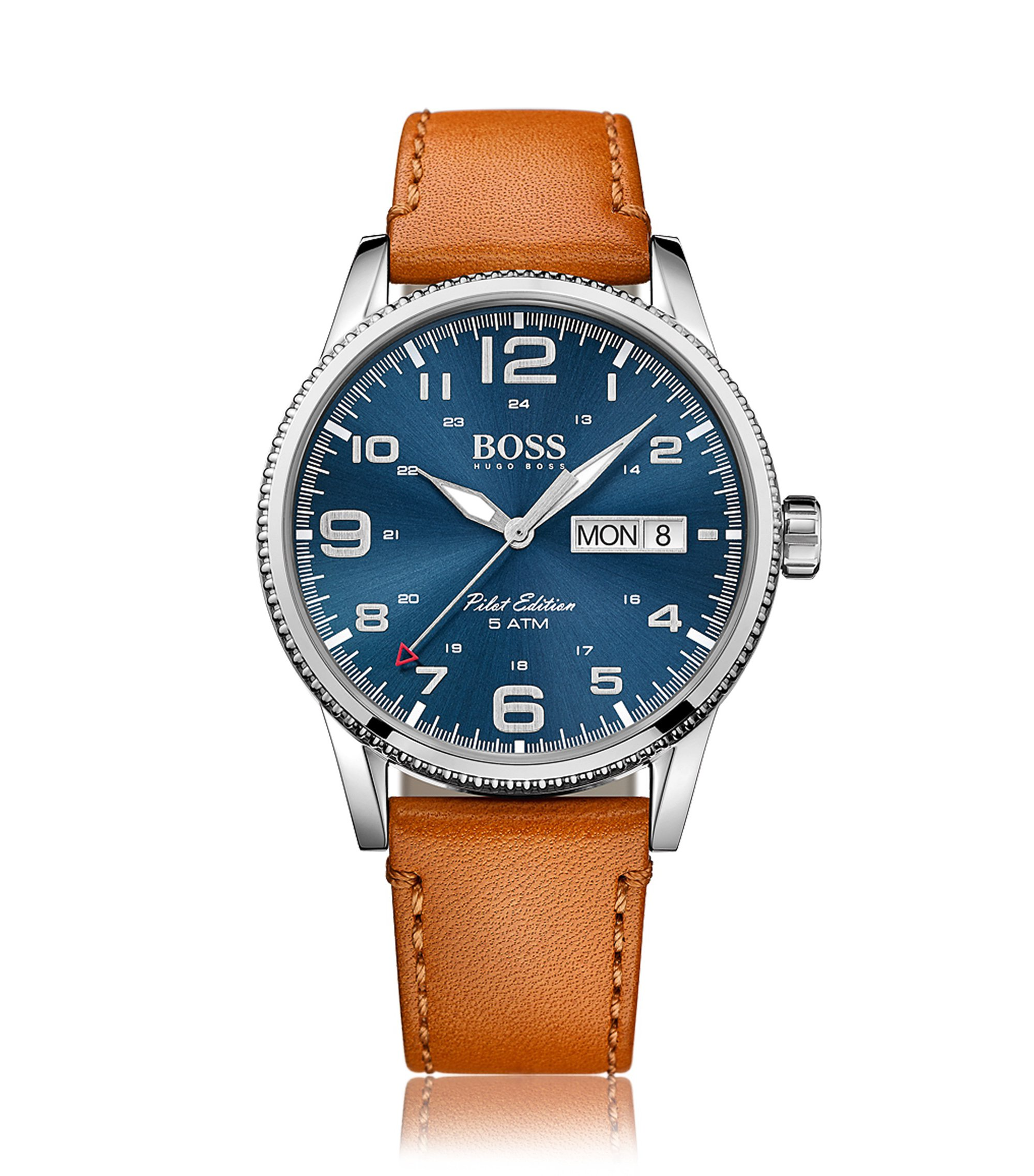 Pilot edition stainless-steel watch with blue sunray dial, Light Brown