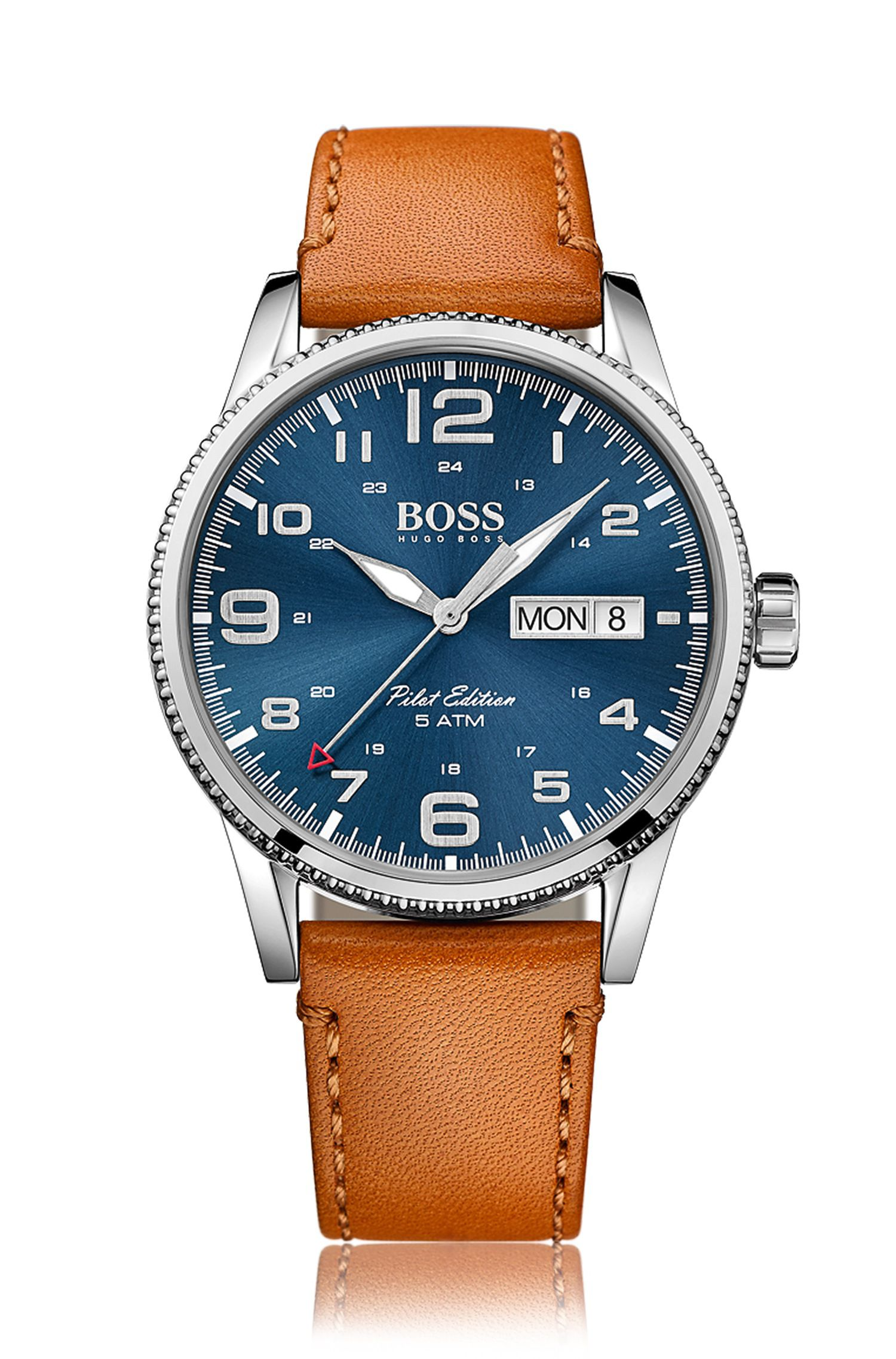 Pilot edition stainless-steel watch with blue sunray dial