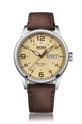 Pilot edition stainless-steel watch with textured bezel, Dark Brown