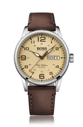 Horloge in piloteneditie, van roestvrij staal met gestructureerde lunette, Donkerbruin