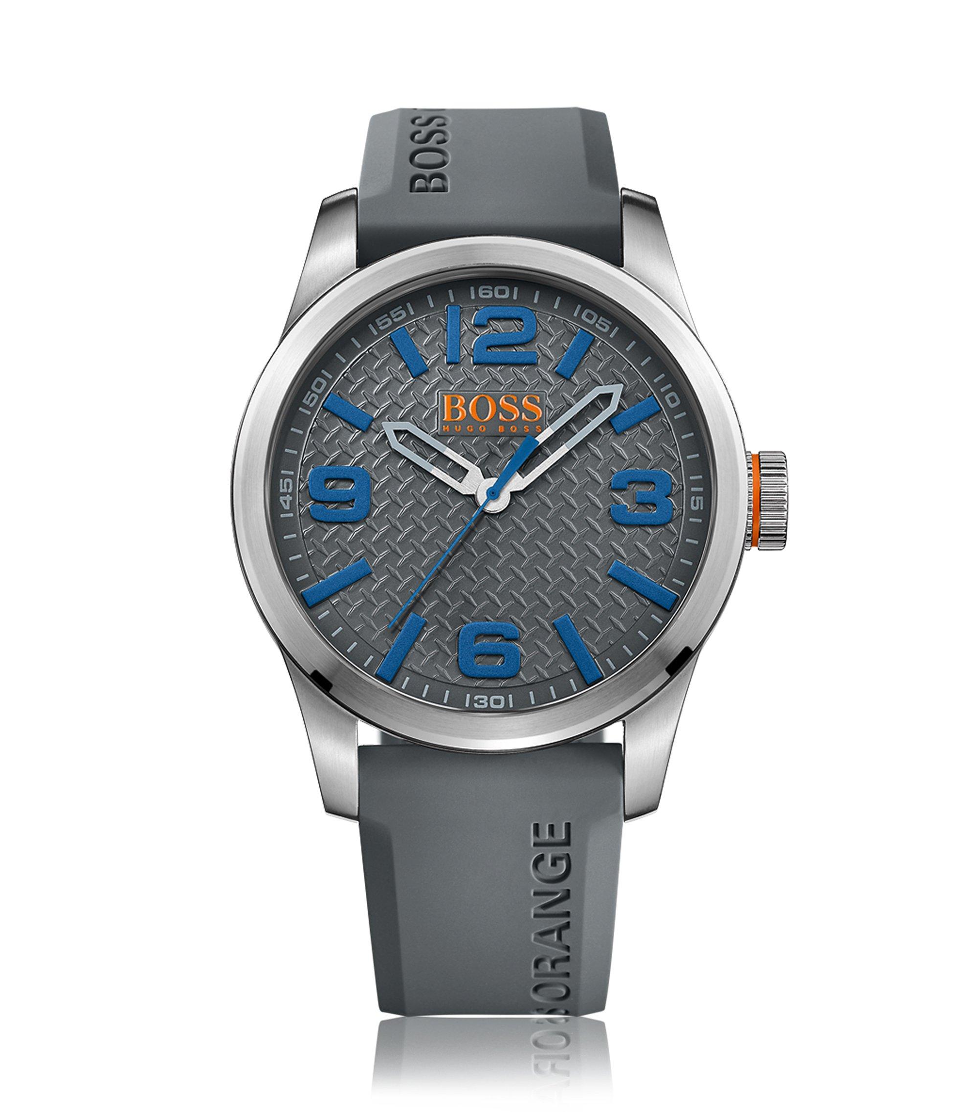Reloj de tres manecillas en acero inoxidable cepillado con textura en la esfera gris, Gris