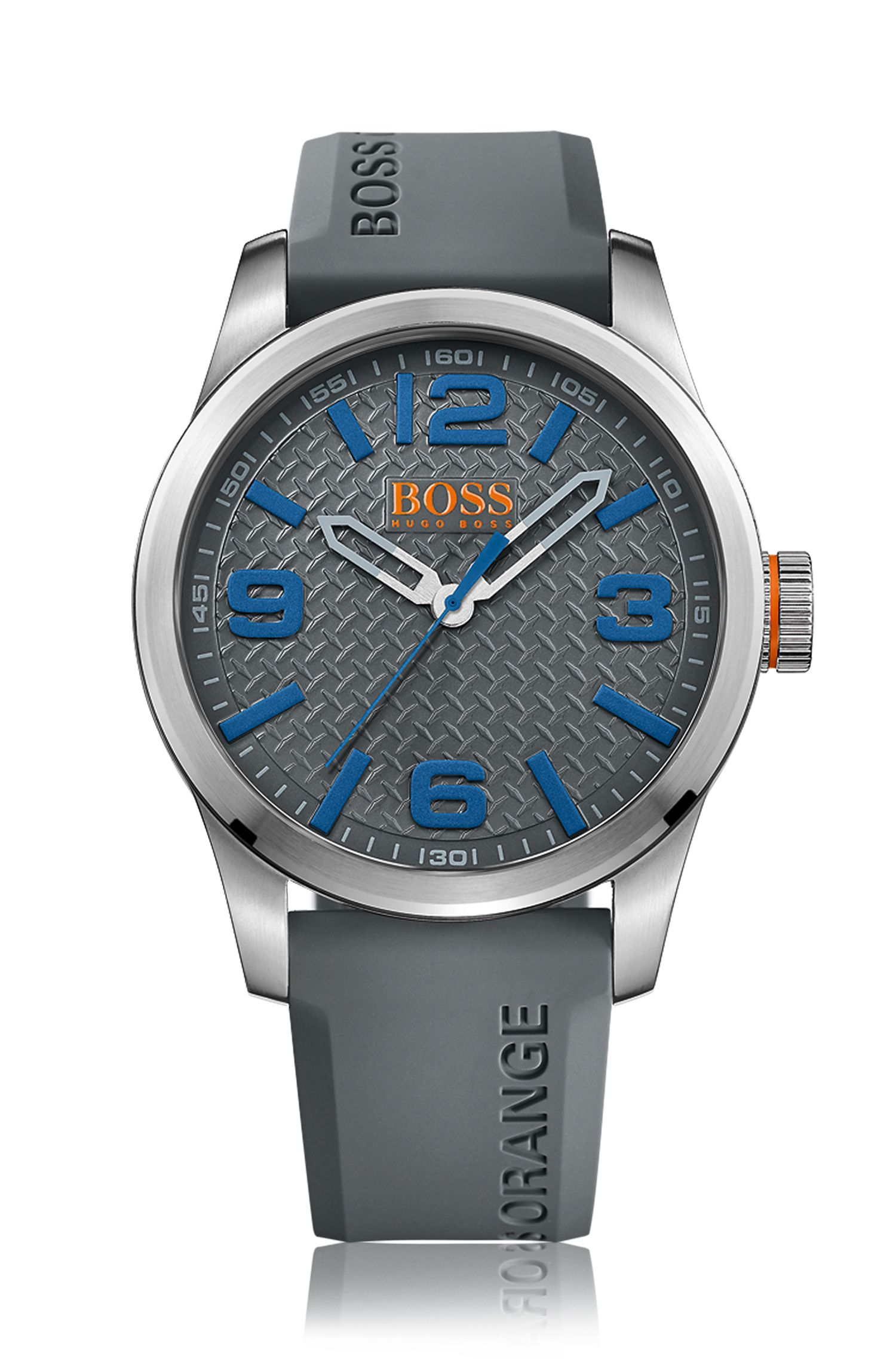 Brushed stainless-steel three-hand watch with grey textured dial