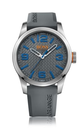 Brushed stainless-steel three-hand watch with grey textured dial, Grey