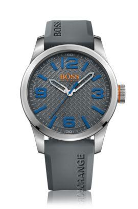Horloge van geborsteld roestvrij staal met drie wijzers en grijze gestructureerde wijzerplaat, Grijs