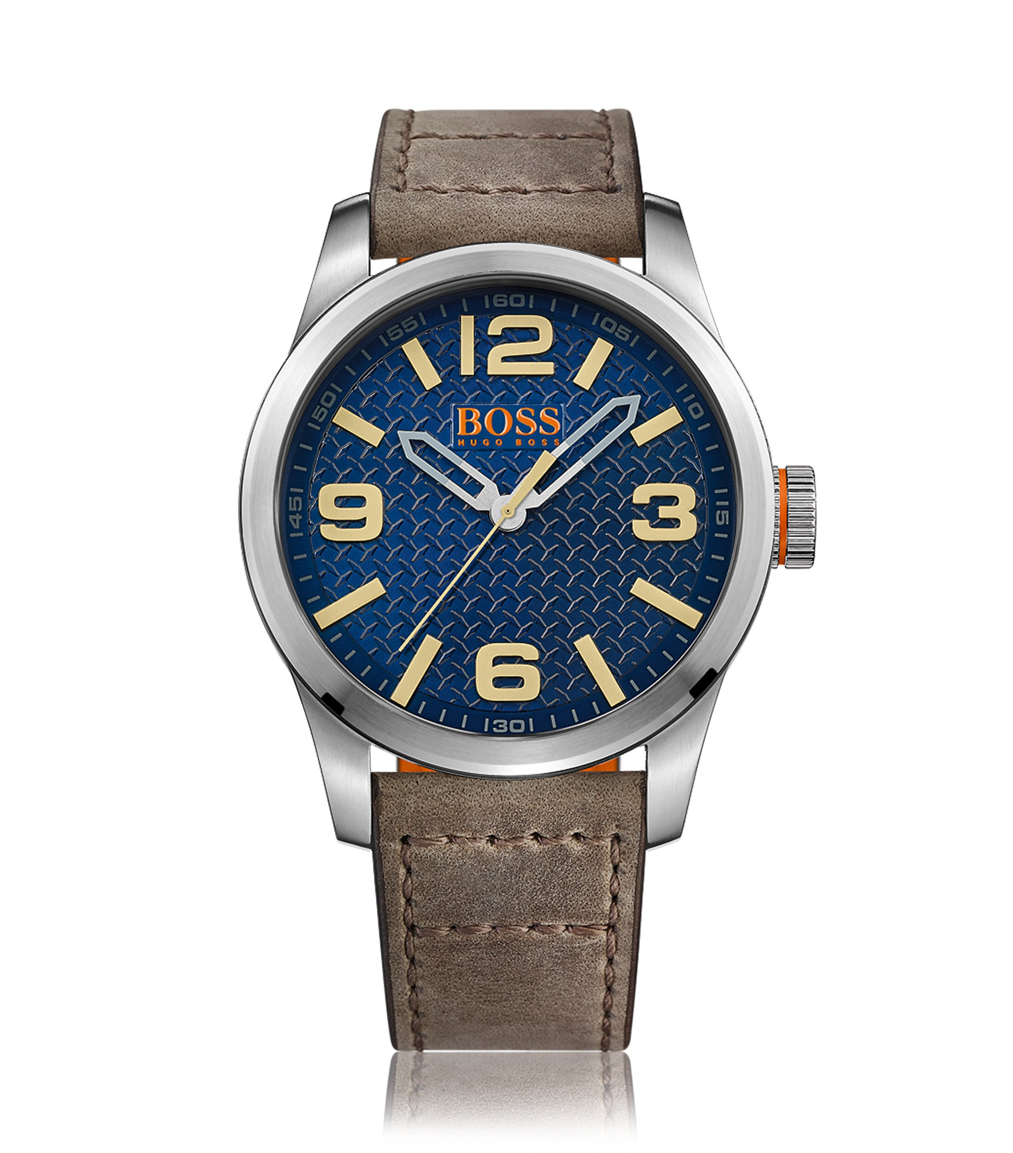 Stainless-steel three-hand watch with blue textured dial and leather strap, Brown