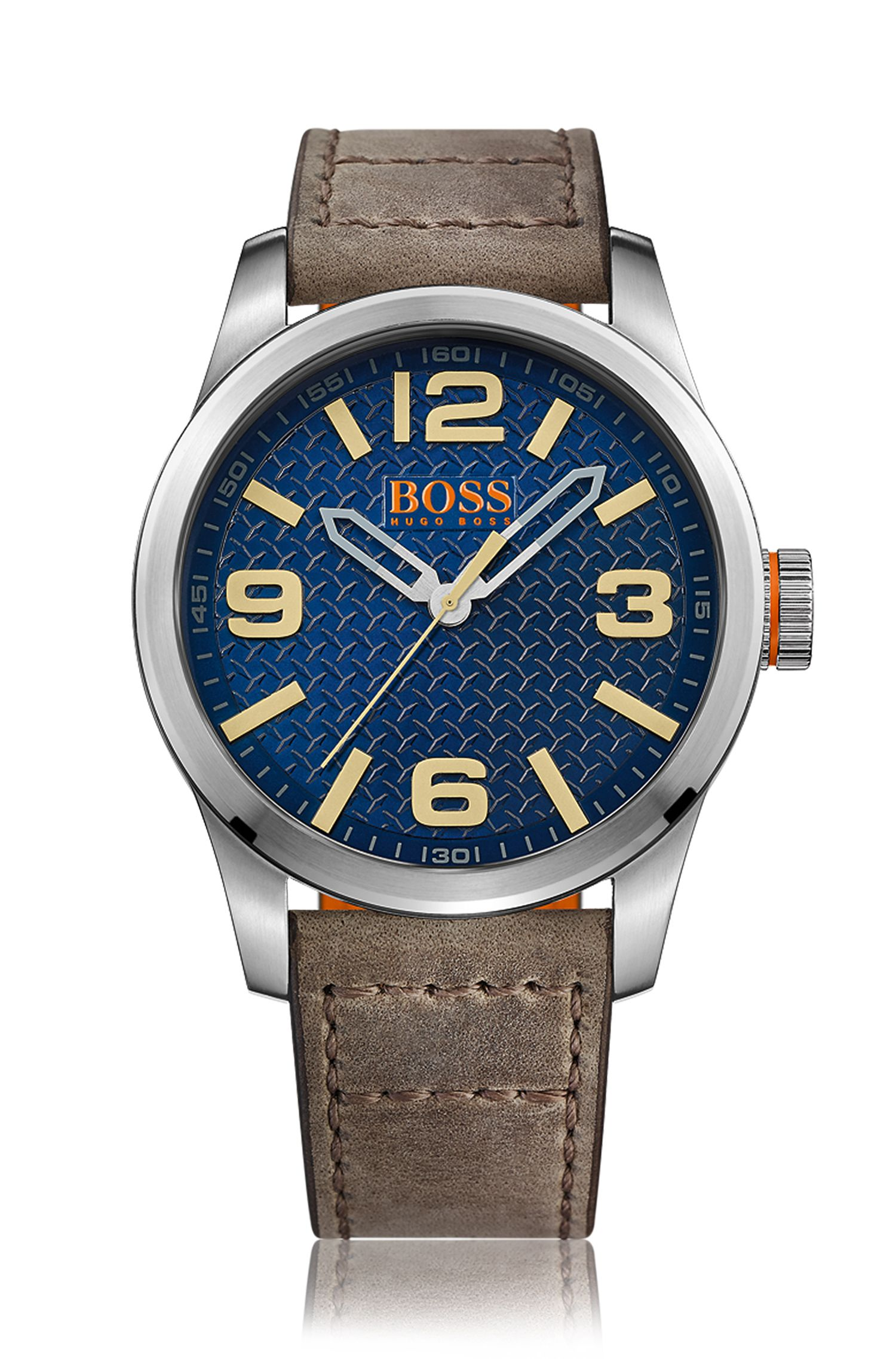 Horloge van roestvrij staal met drie wijzers, blauwe gestructureerde wijzerplaat en polsband van leer