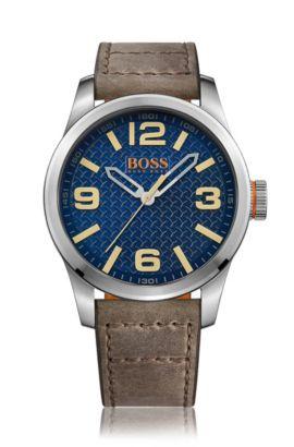 Uhr aus Edelstahl mit drei Zeigern, strukturiertem Zifferblatt und Lederarmband, Braun