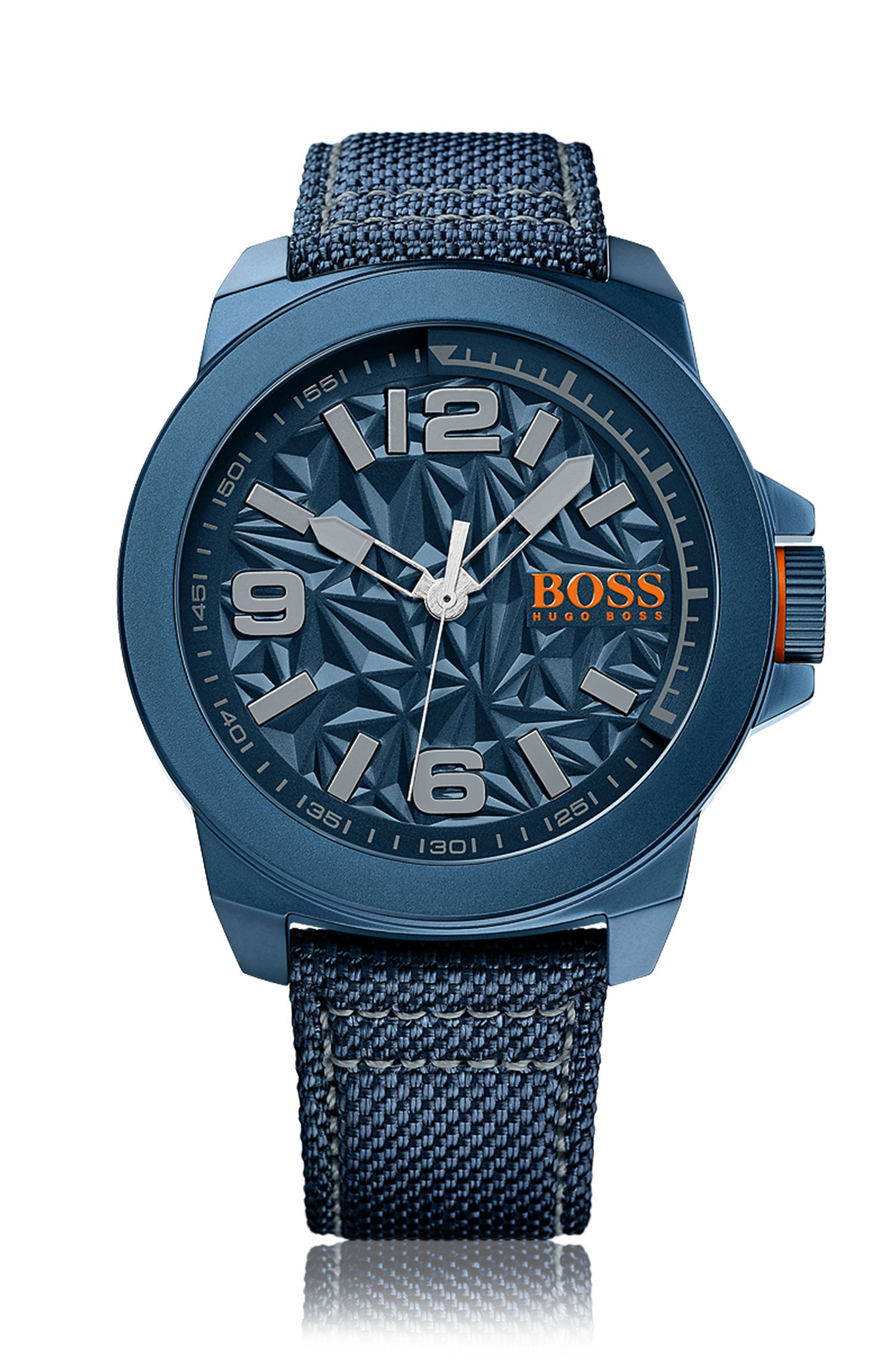 Blue-plated stainless-steel three-hand watch with architectural dial and fabric strap