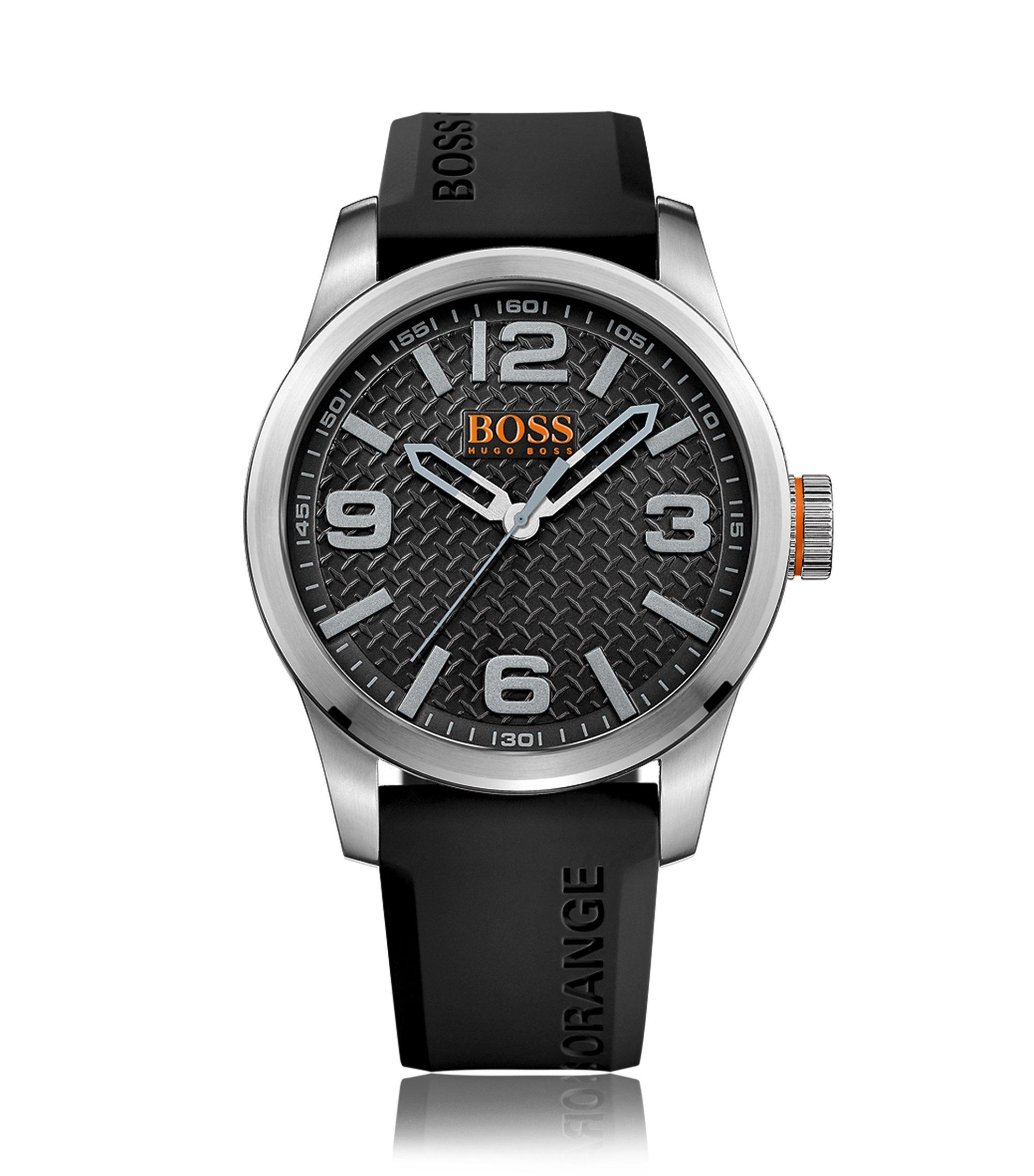 Uhr aus Edelstahl mit drei Zeigern, strukturiertem Zifferblatt und Silikonarmband, Dunkelgrau