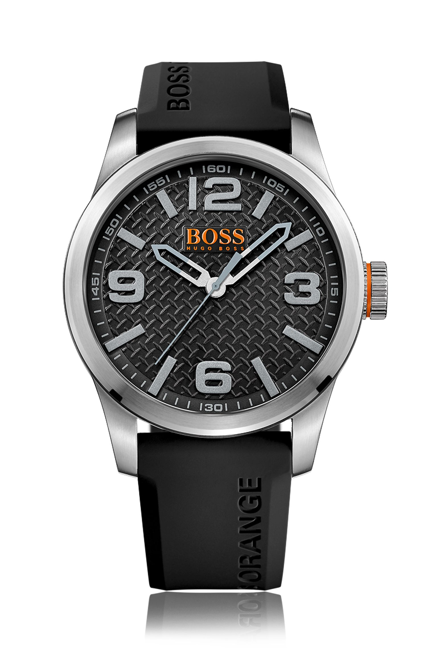 Stainless-steel three-hand watch with black textured dial and silicone strap
