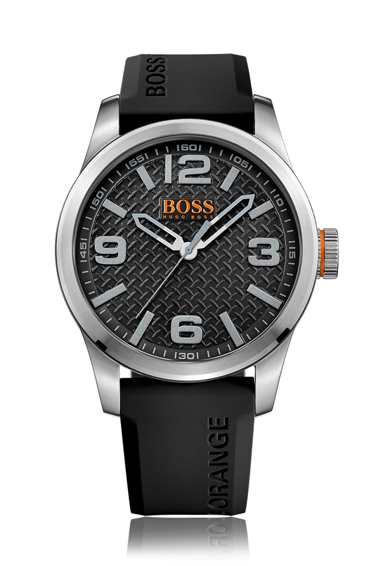 Horloge van roestvrij staal met drie wijzers, zwarte gestructureerde wijzerplaat en polsband van siliconen