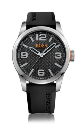 Stainless-steel three-hand watch with black textured dial and silicone strap, Dark Grey