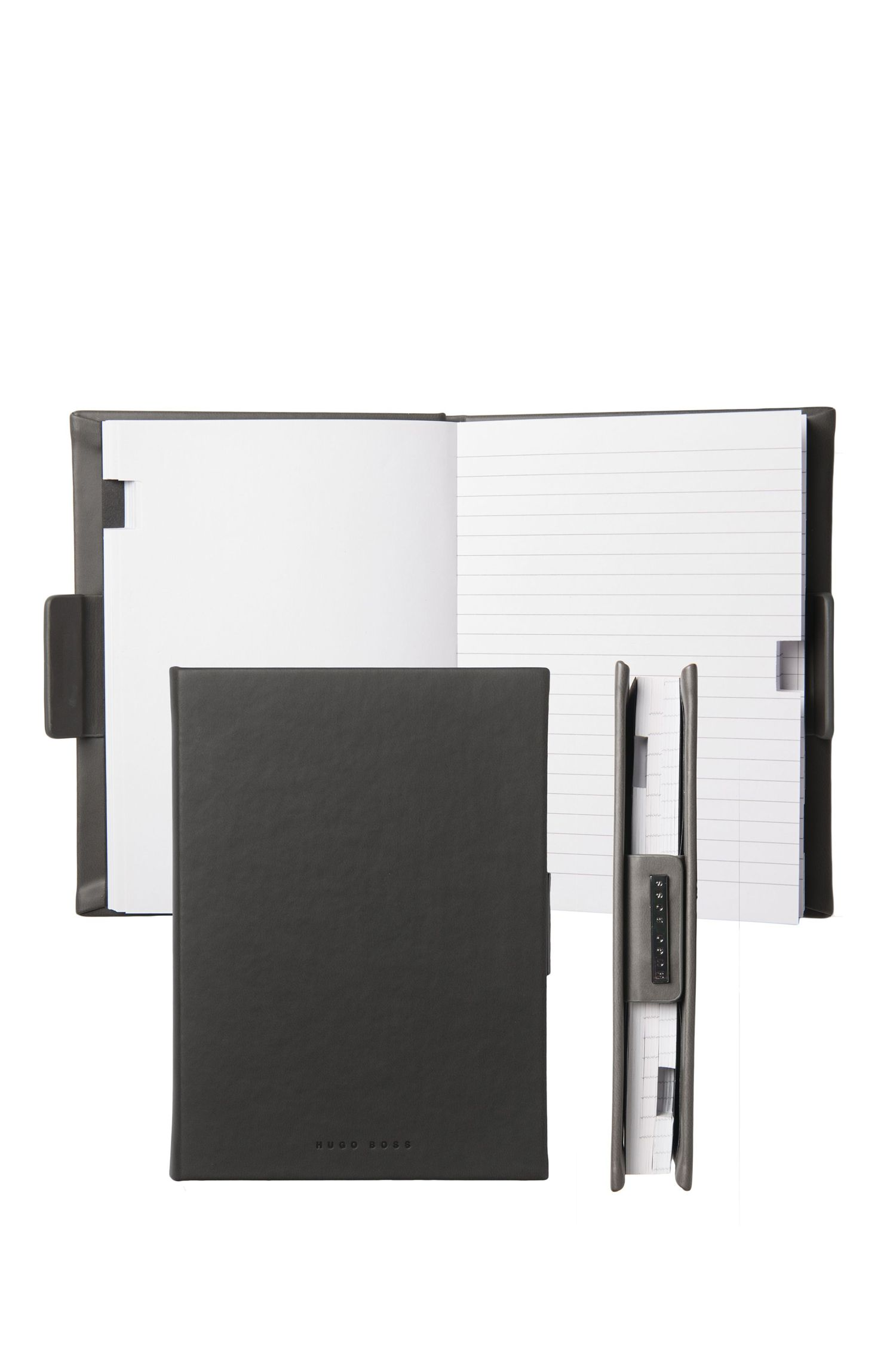 Lined A6 notepad with grey leather-effect case