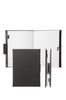 Lined A6 notepad with grey leather-effect case, Grey