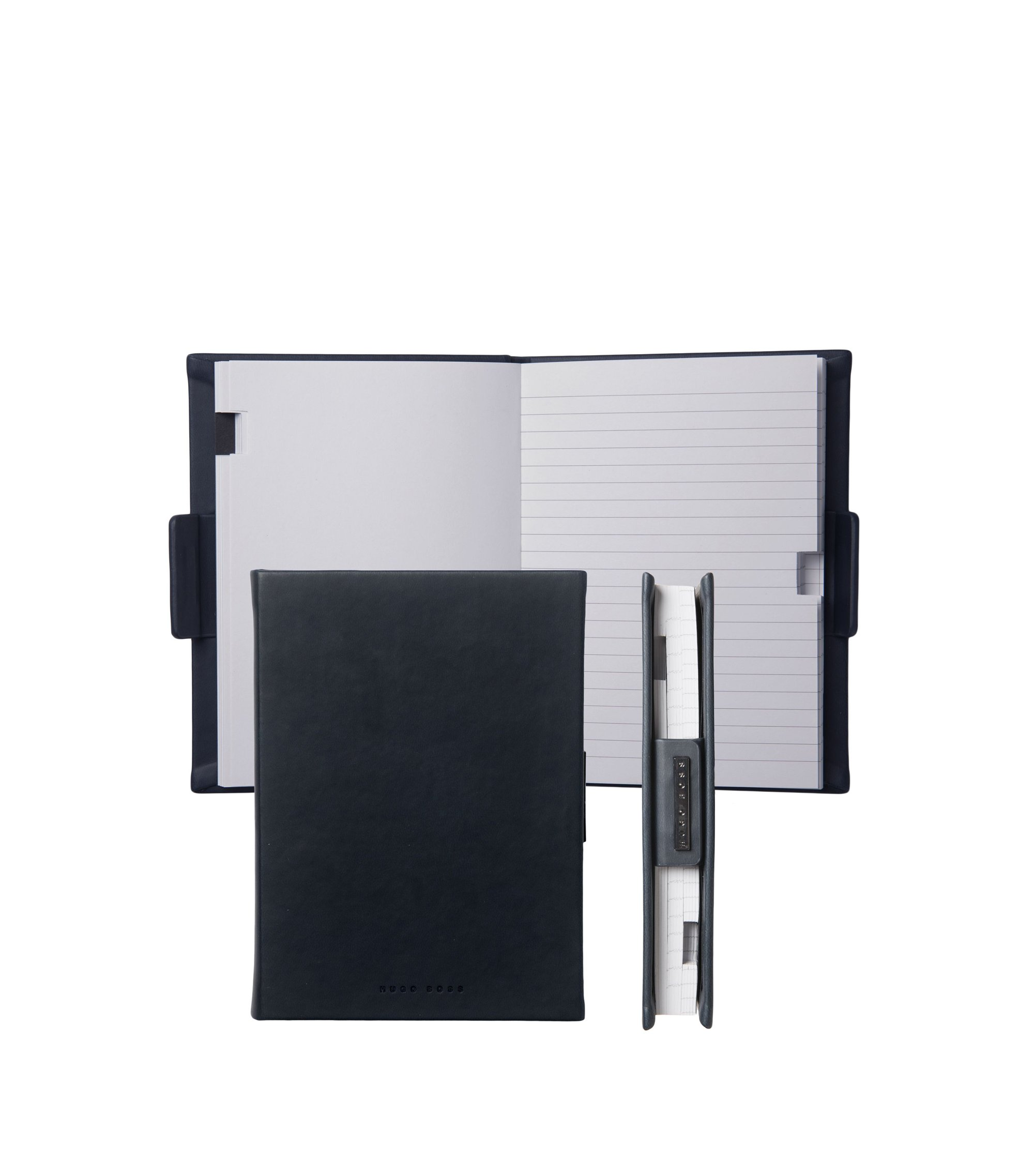 Lined A6 notepad with leather-effect case, Black