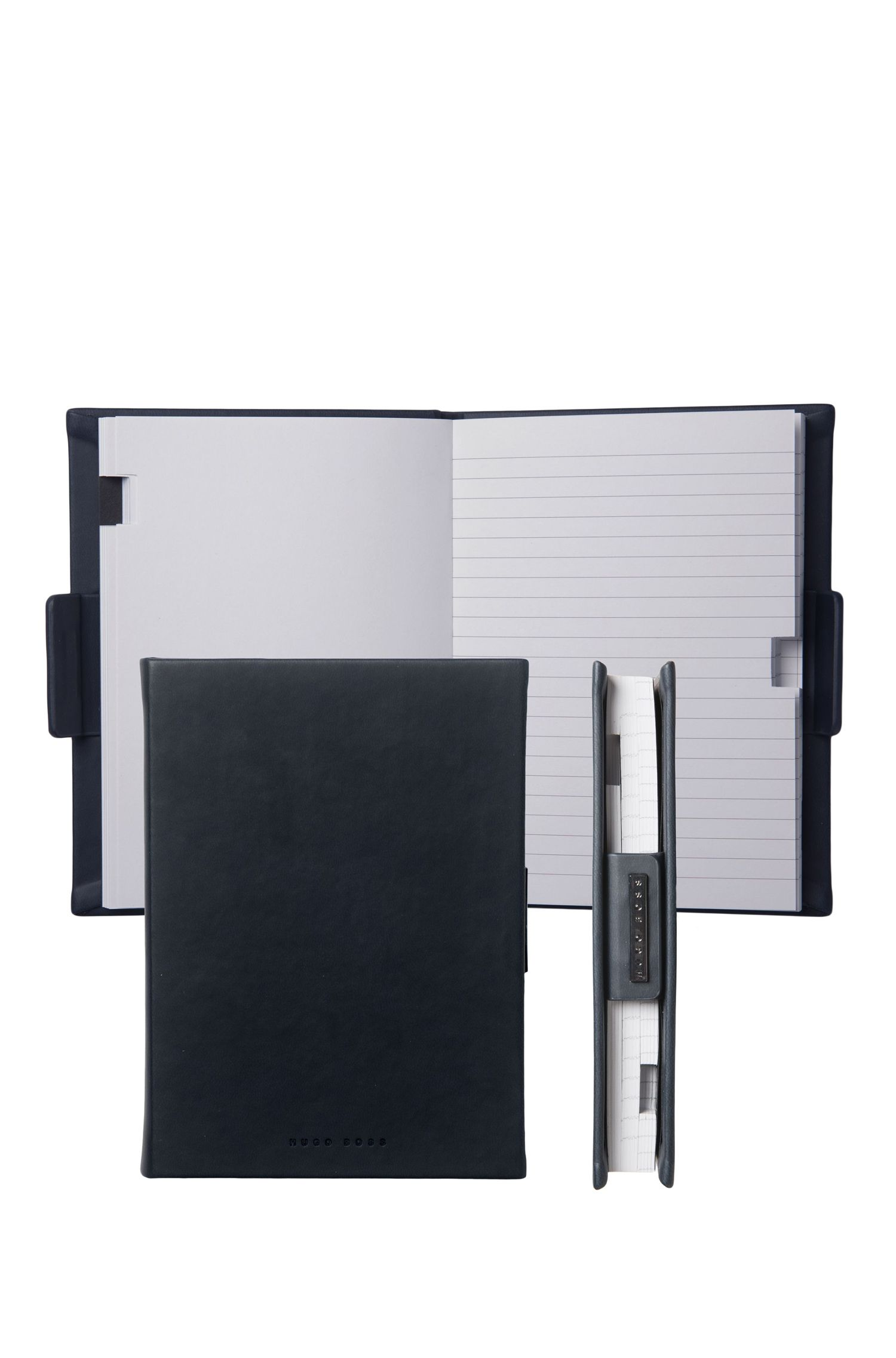 Lined A6 notepad with black leather-effect case