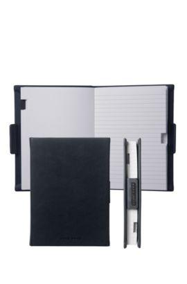 Liniertes A6-Notizbuch mit Einband in Leder-Optik, Schwarz
