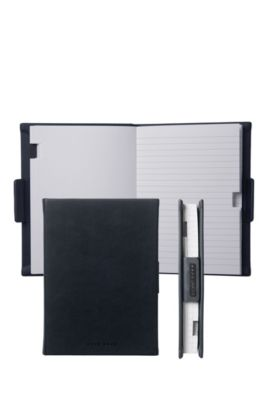 Lined A6 notepad with black leather-effect case, Black