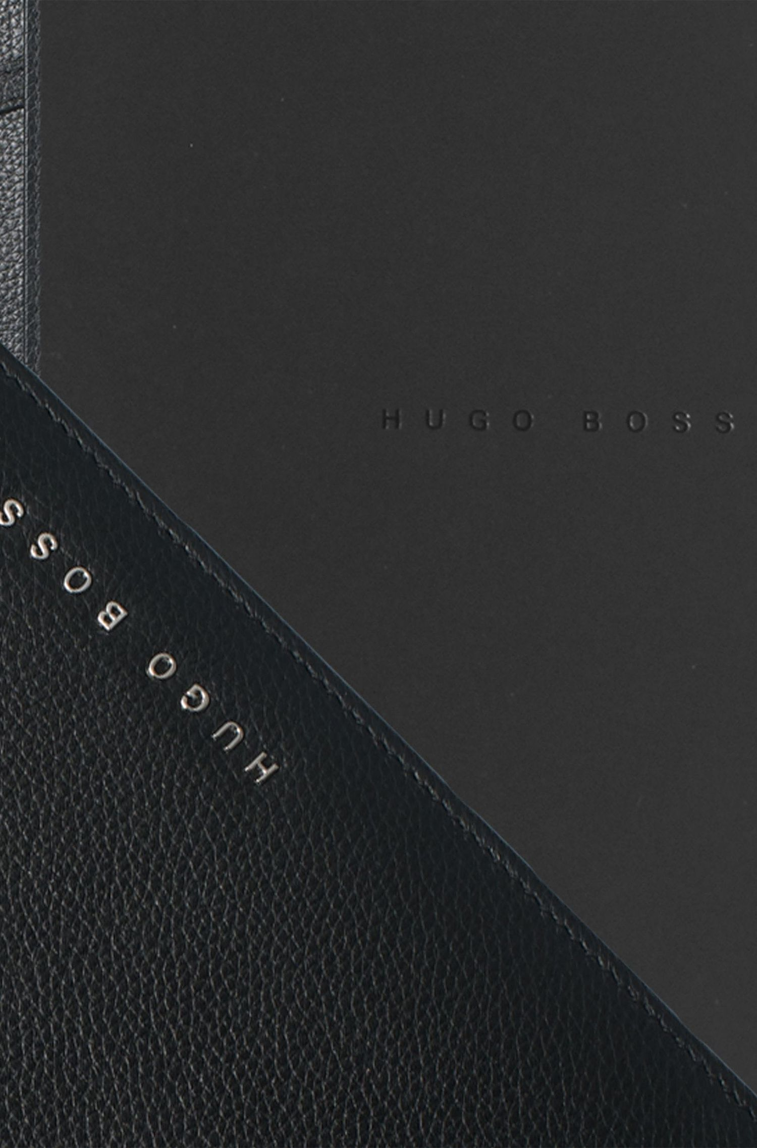 Textured black leather A5 folder with notepad