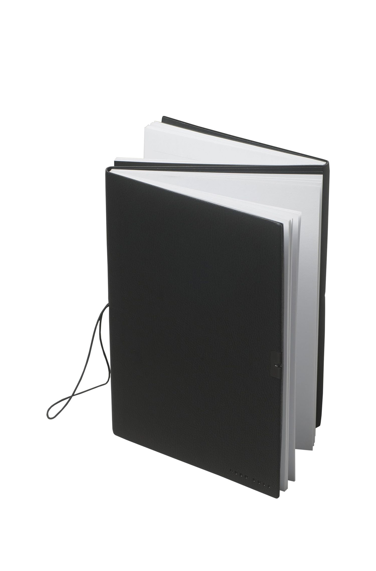 A5 notepad with black faux-leather cover, Black