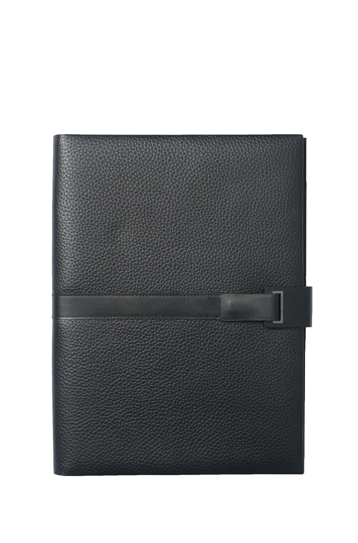 A4 folder in soft-grained leather with magnetic front strap