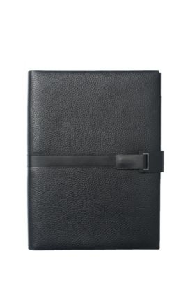 A4-Mappe aus genarbtem Leder mit Riemen und Magnetverschluss, Schwarz