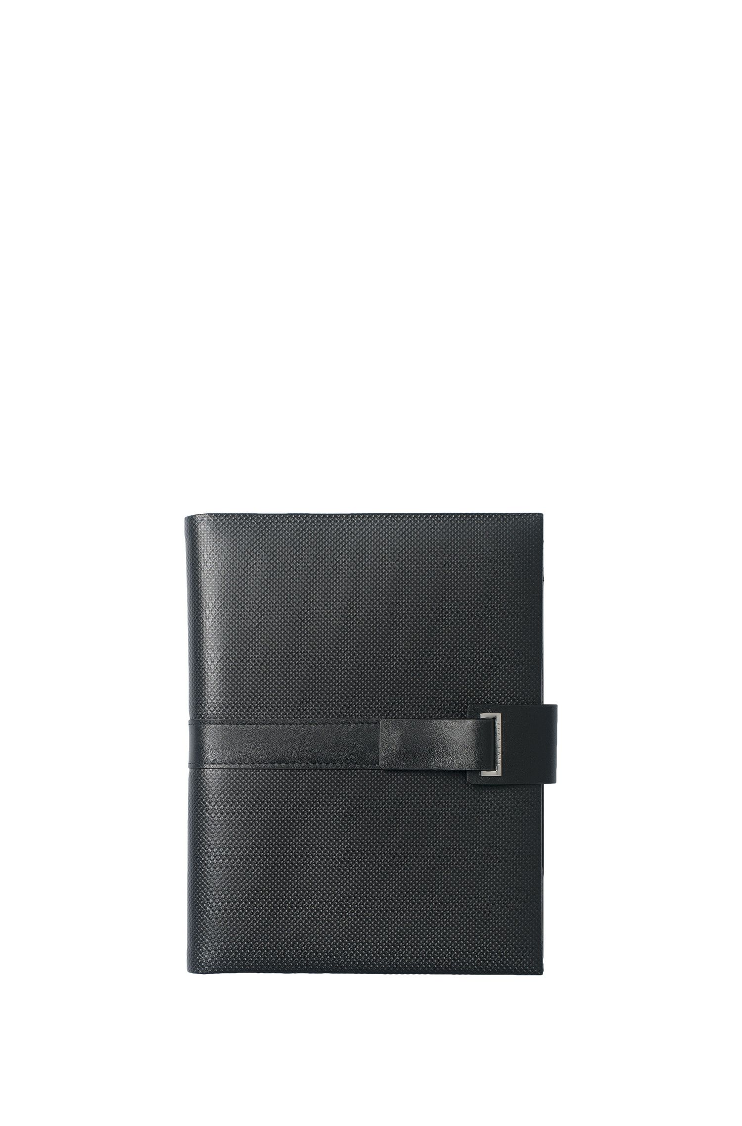 Matt black leather A5 folder with notepad, Black