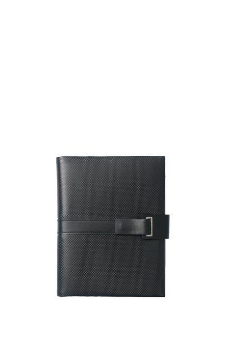 Matt black leather A5 folder with notepad, Black