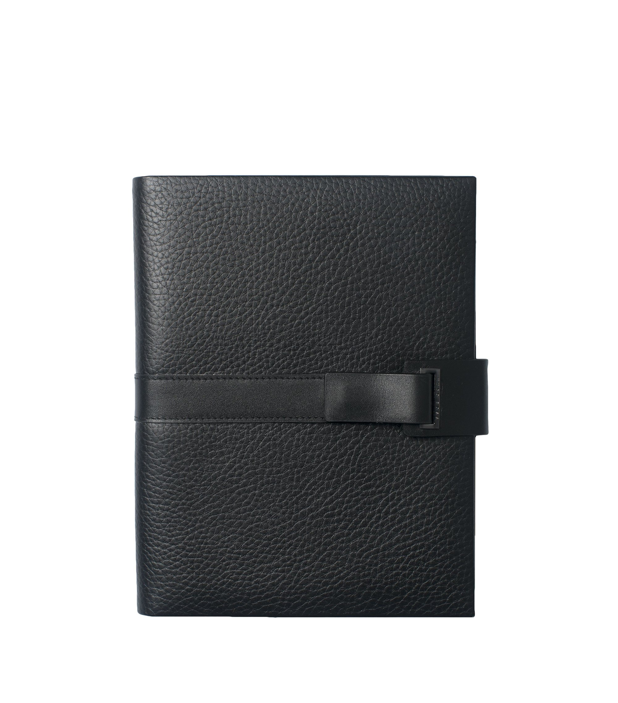 A5 grained leather folder with magnetic front strap, Black