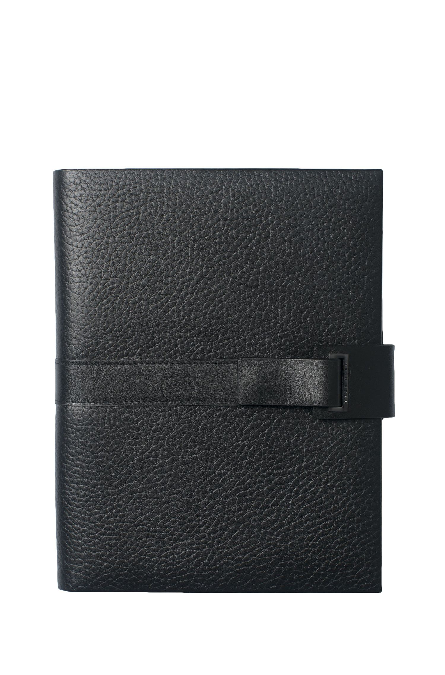A5 grained leather folder with magnetic front strap
