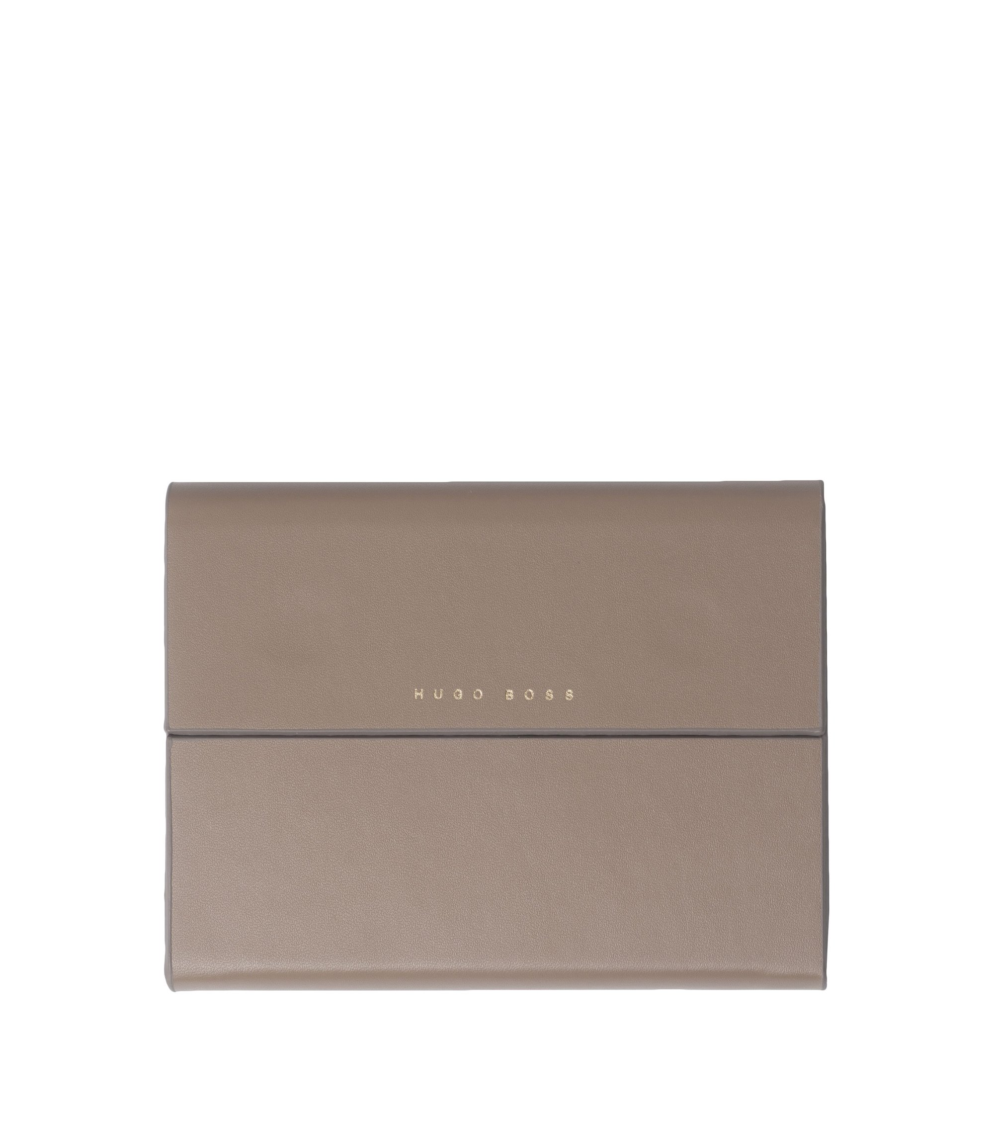 Notepad with grained-leather-effect case, Light Brown