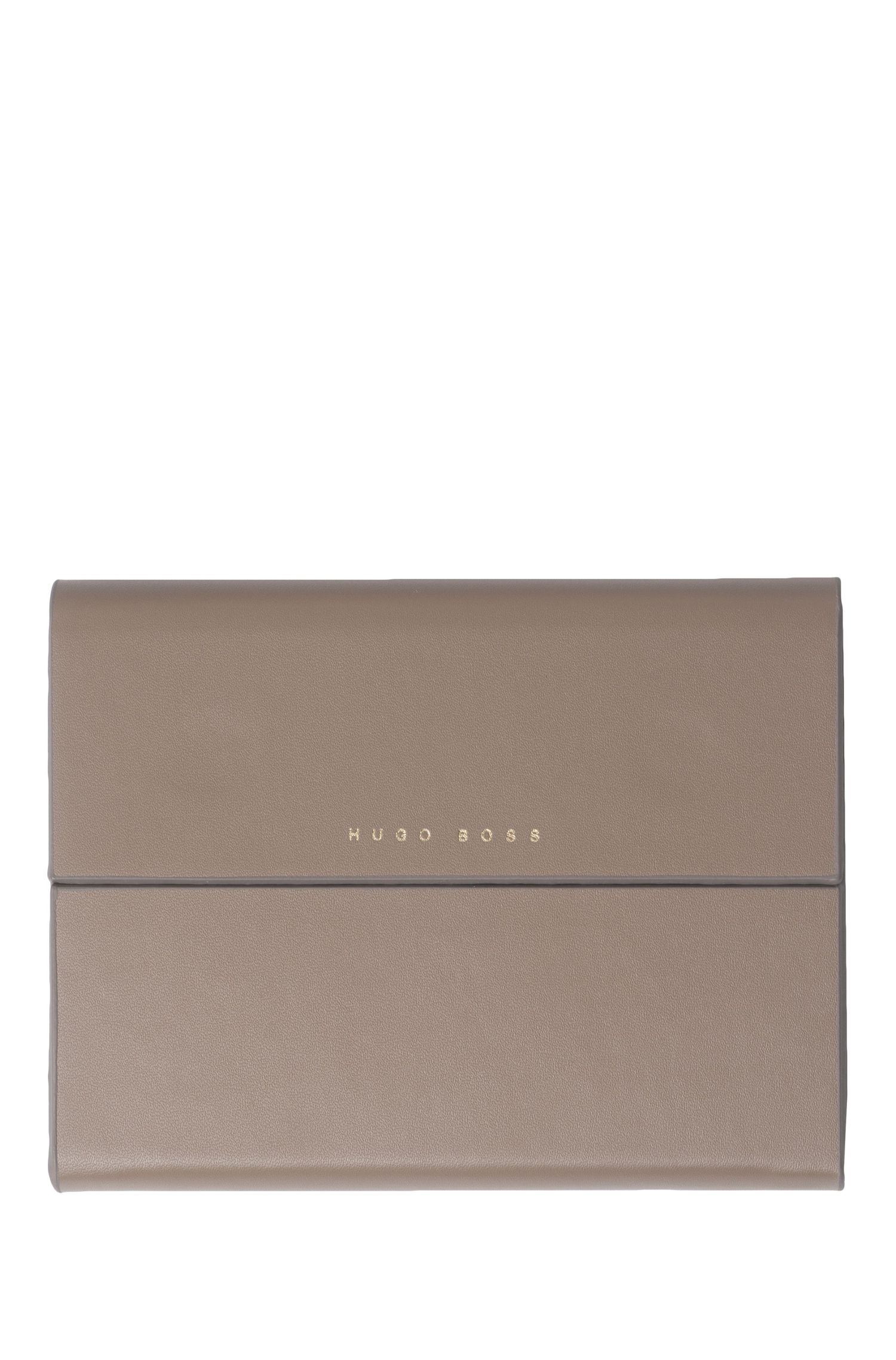 Notepad with grained-leather-effect case