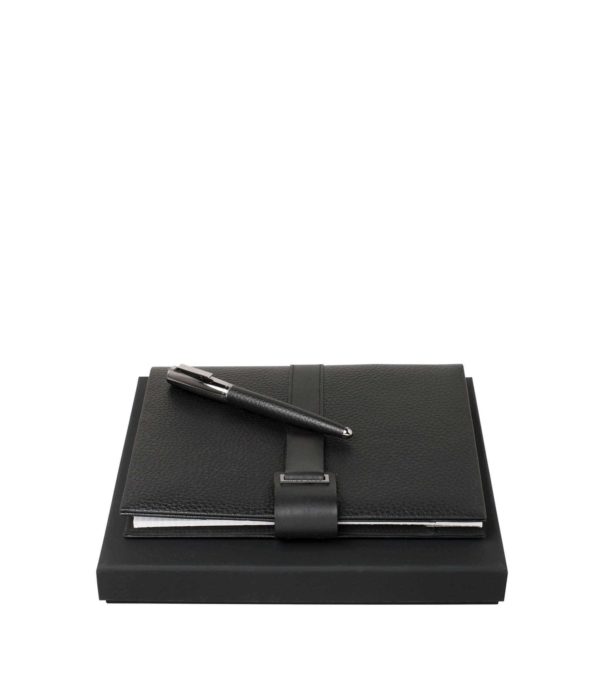 Set de libreta y bolígrafo de gel: 'Verse Shell', Negro