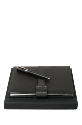 Set comprising a notepad and rollerball pen: 'Verse Shell', Black