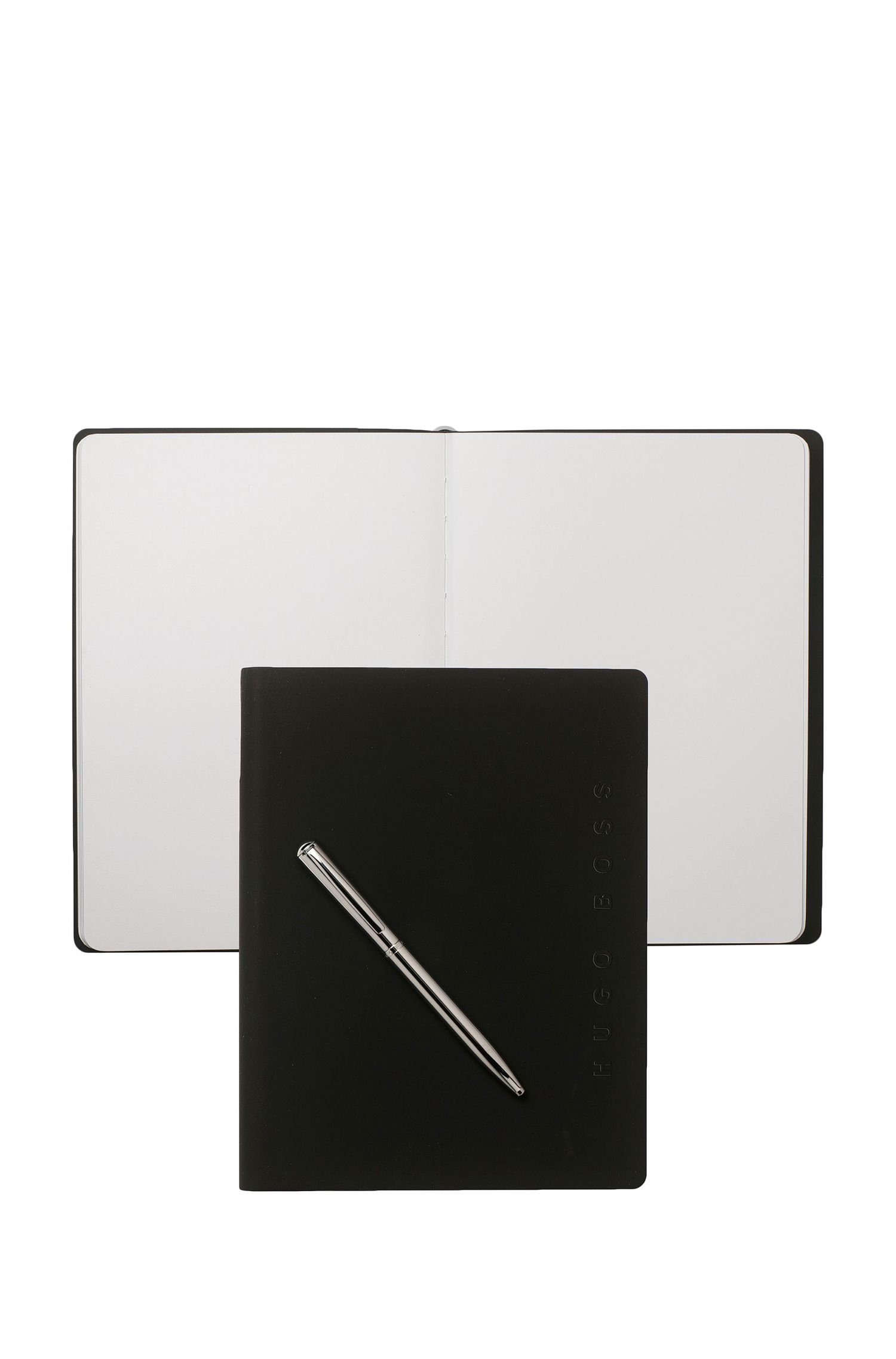 Black A5 notepad and chrome-plated ballpoint pen set
