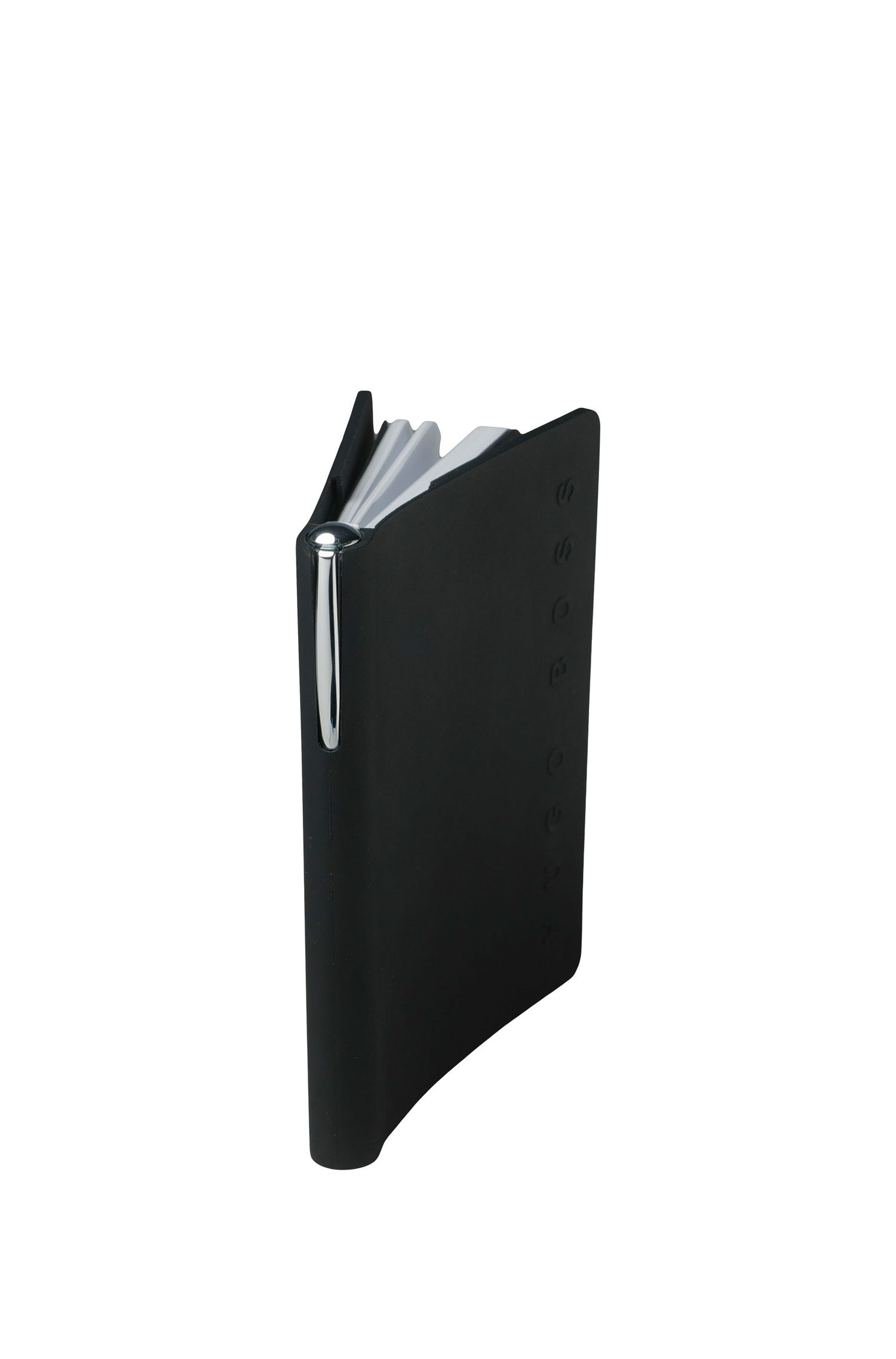 Black A5 notepad and chrome-plated ballpoint pen set, Black