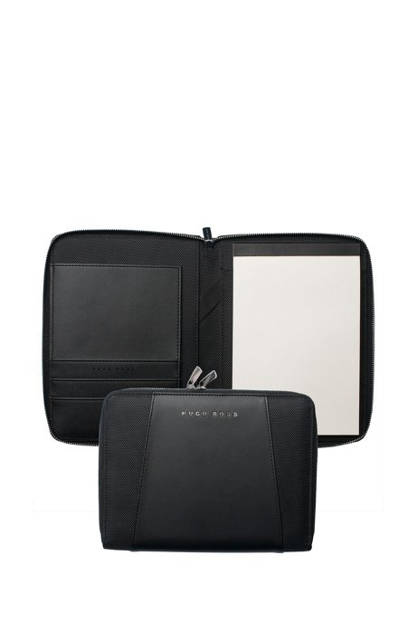 Black A5 conference folder in faux leather, Black
