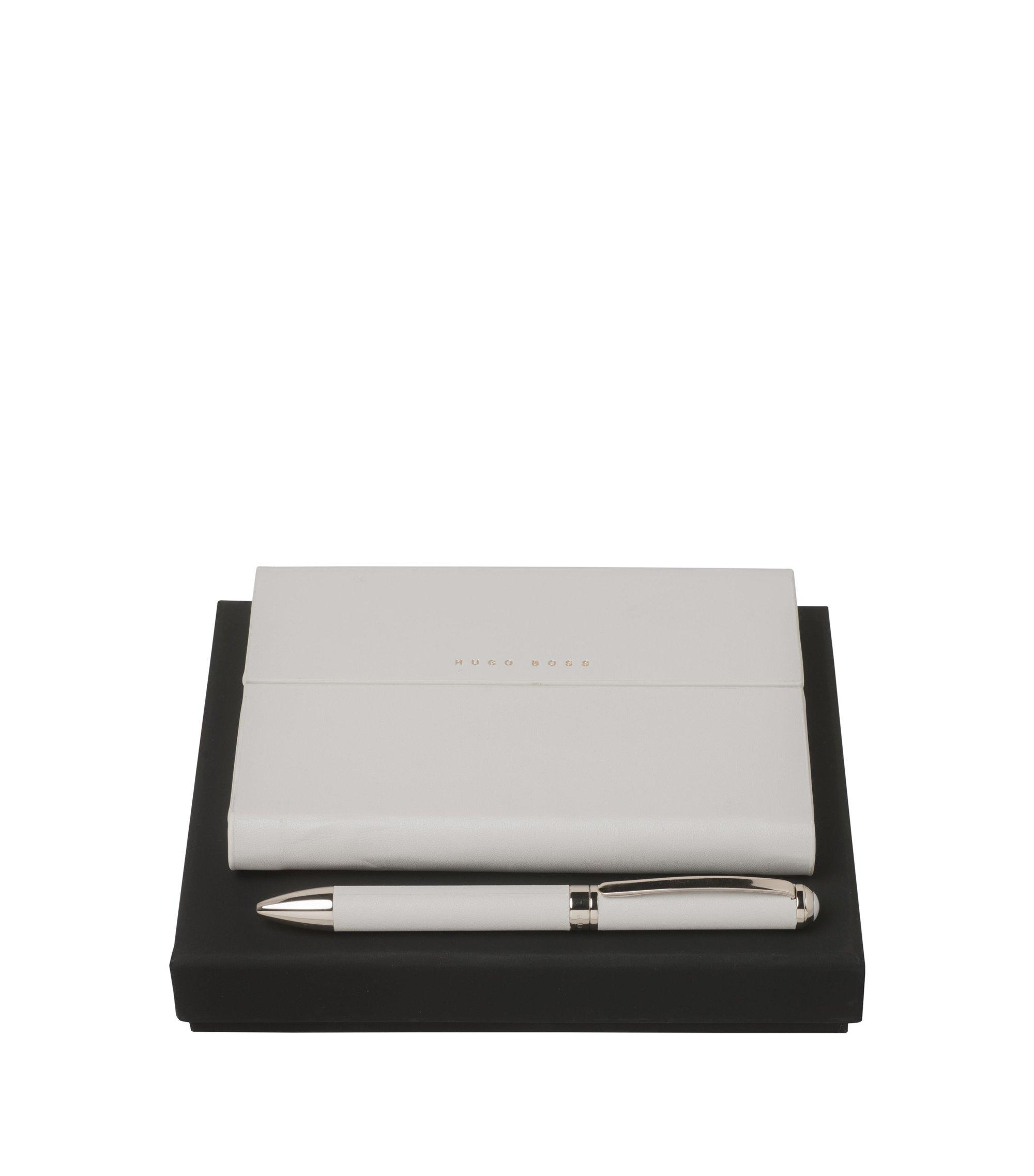 Coffret cadeau avec carnet et stylo à bille, Gris