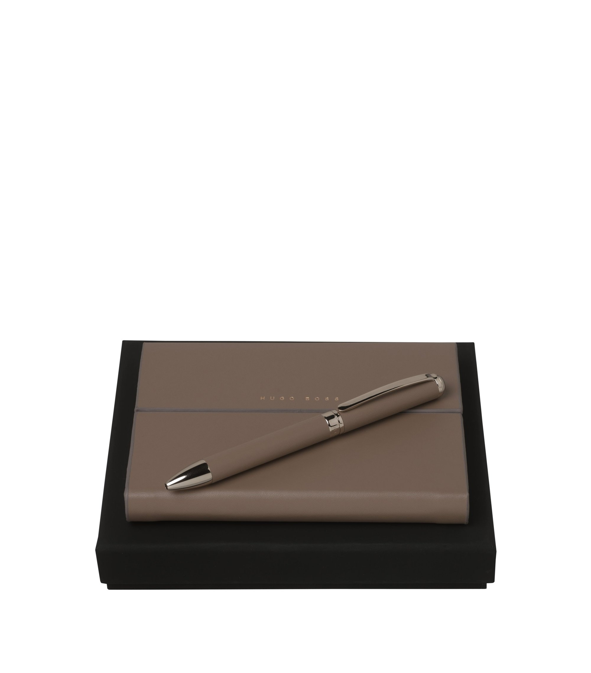 Notepad and ballpoint pen gift set, Open brown