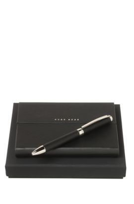 Notepad and ballpoint pen gift set, Black
