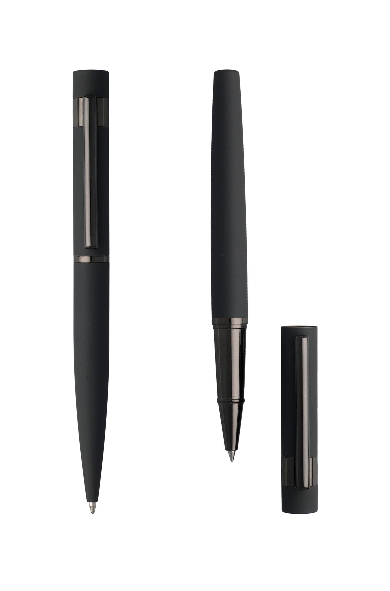 Set of rollerball and ballpoint pens with soft-touch rubber finish