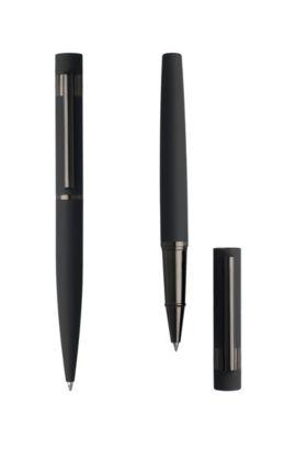Set mit Tintenroller und Kugelschreiber aus Messing mit softem Gummi-Finish, Grau