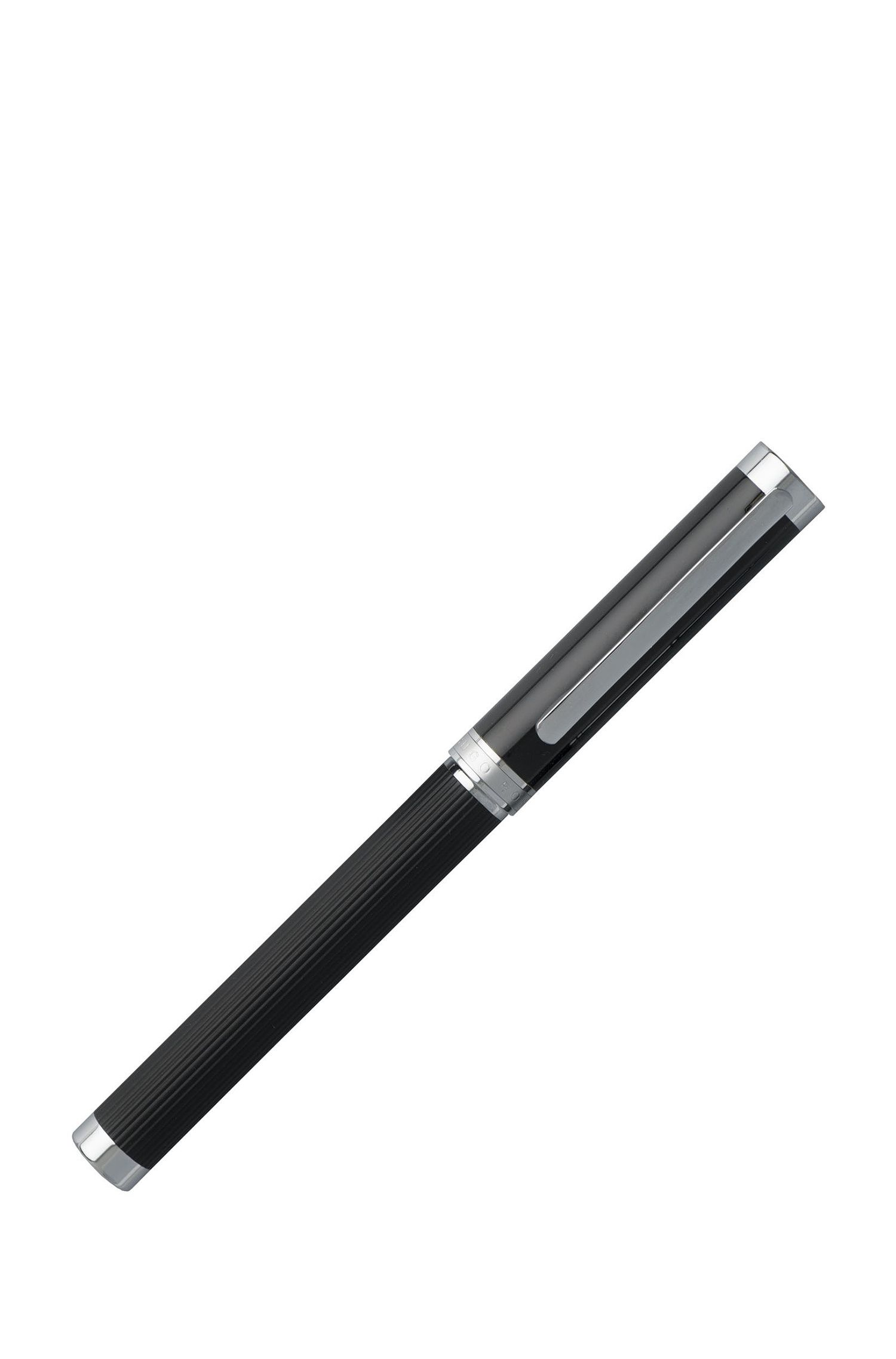 Pen set with structured-stripe black-lacquer barrel