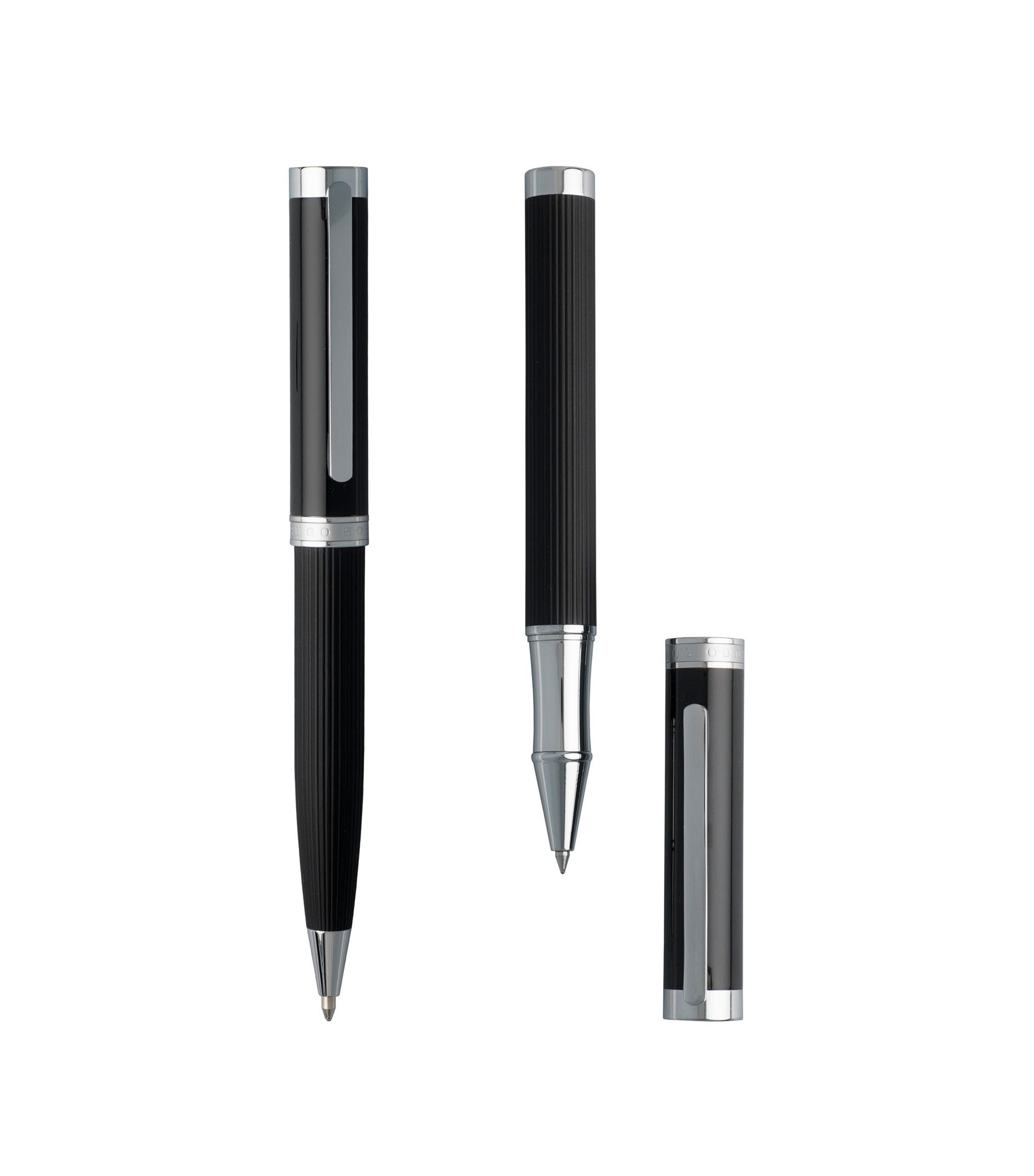 Pen set with structured-stripe black-lacquer barrel, Black